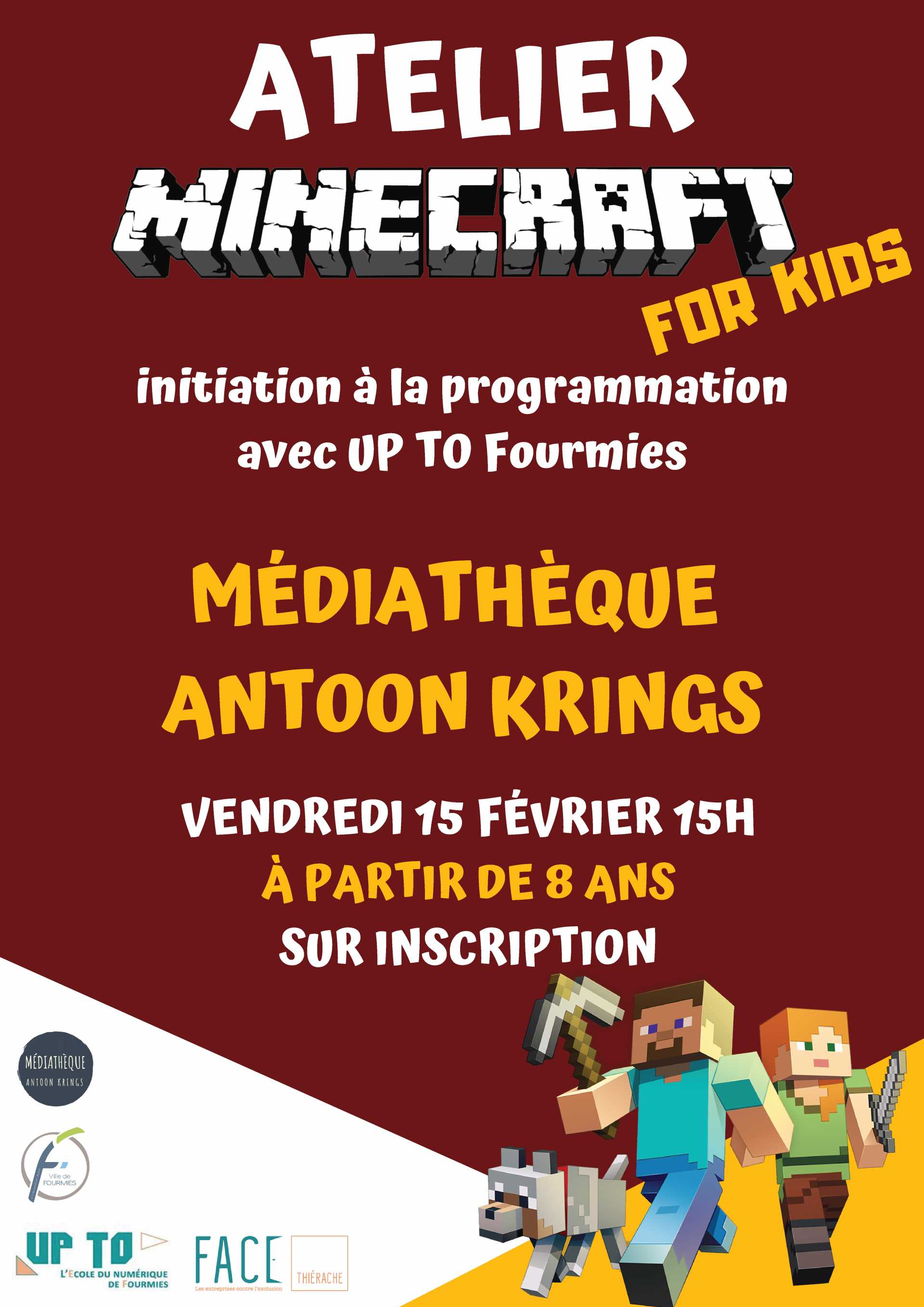 Atelier minecraft for kids fourmies sud avesnois - Eppe minecraft ...